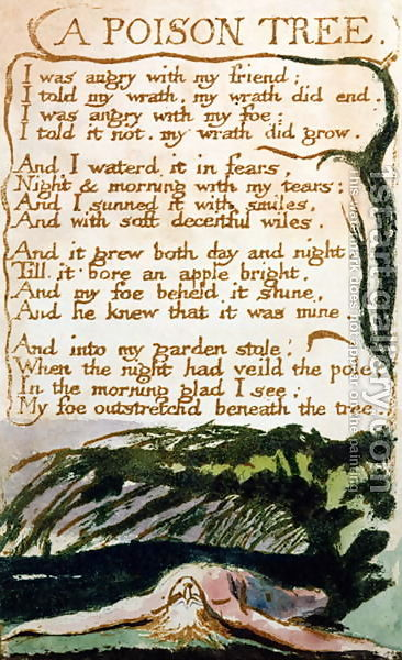 a plot summary of william blakes poem a poison tree The poem a poison tree is one of the most wonderful and appreciated works of william blake it was published in the year 1794 in his collection of songs of experience, which talks about various emotions.