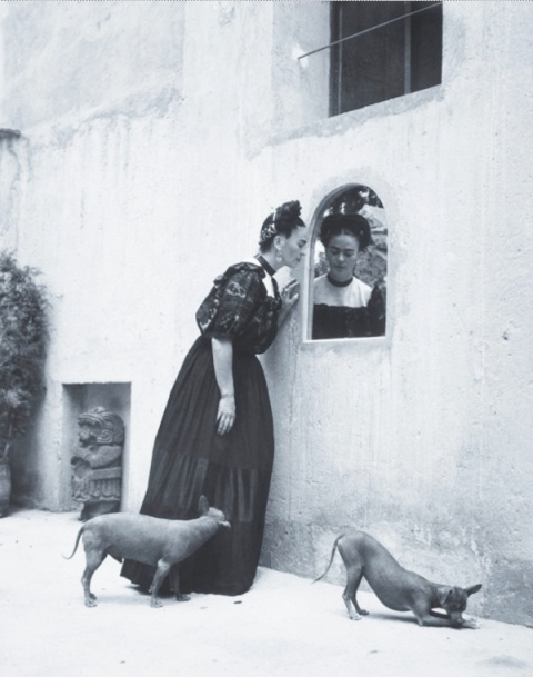 Frida Kahlo and her Xoloitzcuintli dogs